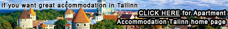 Tallinn travel guide banner with town picture linking to apartment accommodation Tallinn home page